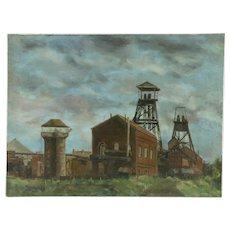 Industrial Scene Original Oil Painting, Signed Paschenko 1950
