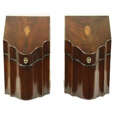 Pair of Antique 1900 Mahogany & Marquetry Knife Boxes, England #28568