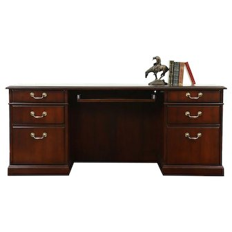 Credenza, Vintage Mahogany Lateral File Computer Desk, Signed Kimball #28571