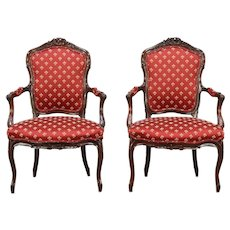 Pair 1930's Vintage Carved French Walnut Chairs, New Upholstery #28573