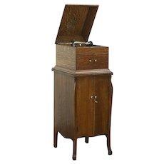 Victor Oak Antique Victrola Wind Up Phonograph Model VV-VIII & Cabinet, Records