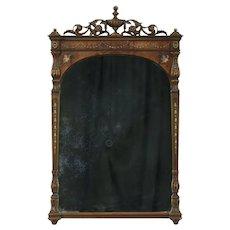 Carved Antique Wall Mirror, Walnut & Burl, Hand Painting, signed  Berkey & Gay