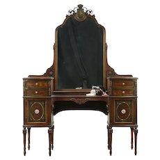 Vanity or Dressing Table with Mirror, Walnut, Painting, Berkey & Gay #28579