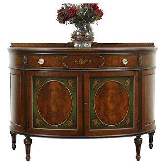 Demilune Half Round Console Cabinet, Walnut, Hand Painting Berkey & Gay #28580