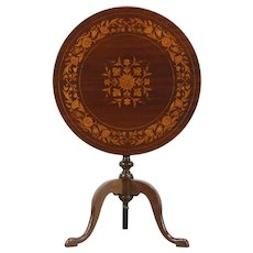 Tilt Top Antique Tea or End Table, Mahogany with Inlaid Marquetry #28586