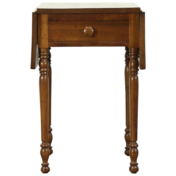 Sheraton Antique 1830 Walnut Dropleaf Pembroke Table or Nightstand, Ohio  #28591 - Sheraton Antique 1830 Walnut Dropleaf Pembroke Table Or Nightstand