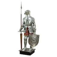 Set of Vintage Armor with Engraving & Stand, Signed Marto, Spain #28594