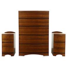 Midcentury Modern Walnut Vintage Bedroom Set, Chest & 2 Nightstands #28596
