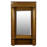 Oak 1900 Antique Classical Hall or Pier Mirror, Beveled & Columns #28597