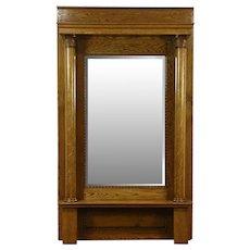 Oak 1900 Antique Classical Hall or Pier Mirror, Beveled & Columns #28597