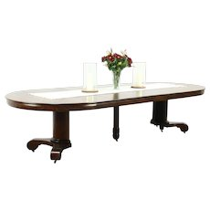 """Empire Round 54"""" Antique 1900 Oak Dining Table, 6 Leaves, Extends 10' 6"""" #28598"""