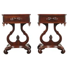 Pair of Cherry Vintage Lyre Base End Tables or Nightstands, Forslund #28601