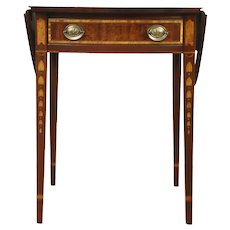 PPembroke Oval Dropleaf Vintage Lamp Table, Mahogany & Marquetry, Century #28605