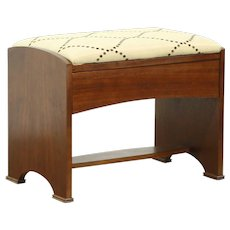 Art Deco 1930's Vintage Walnut Bench, New Upholstery #28606