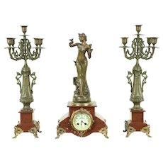 Art Nouveau Antique 3 Pc Marble Mantel Clock Set, Signed Causse Cadet #28607