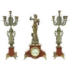 Art Nouveau Antique 3 Pc Marble Mantel Clock Set, Signed Causse Cadet #28607