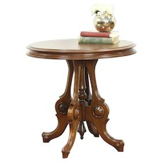 Victorian Antique 1870 Walnut Oval Parlor Lamp Table #28608