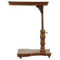 Victorian Walnut Antique Adjustable Bedside Reading Table, England #28611
