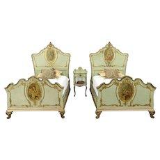 Venetian Antique Carved & Painted Bedroom Set, Twin Beds & Nightstand #28612