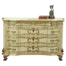 Venetian Antique Carved Chest or Dresser, Painted Renaissance Portrait #28613