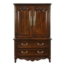 Country French Vintage Oak Tall Chest, Armoire, Chifferobe signed Hickory #28618