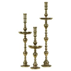 "Set of 3 Giant Brass Vintage; Pillar Candlesticks, 30"" to 47"", Thailand #28640"