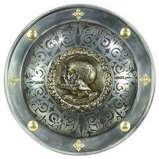 Armor Shield, Engraved Steel, Brass Sculpture of Knight, Marto, Spain #28626