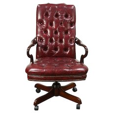 Traditional Swivel Desk Chair, Adjustable, Tufted Faux Leather #28627