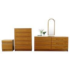 Teak Midcentury Modern 1970 Vintage 4 Pc. Bedroom Set, Jasper Denmark, #28633