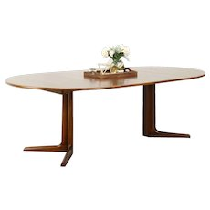 "Teak Midcentury Modern 1960 Vintage Dining Table, 2 Leaves, Extends 86"" #28636"