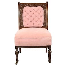 Victorian Antique 1880's Carved Walnut Dressing Chair, Old Velvet #28651