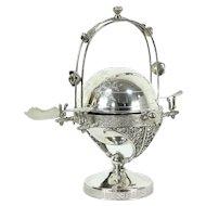 Victorian Antique Silverplate Butter Dome, Bird Motif, Meriden #28658