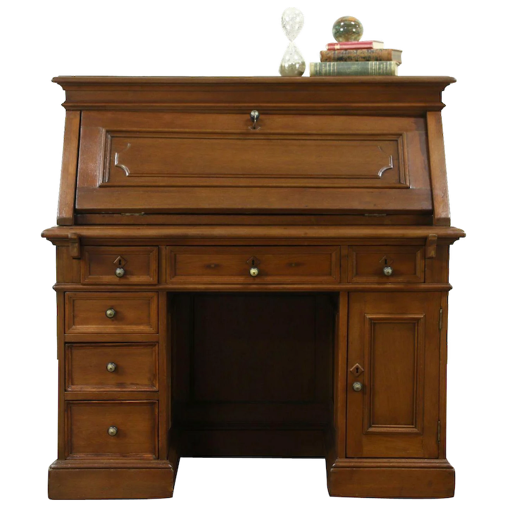 Victorian Antique 1860 S Walnut Library Desk Or Dropfront Secretary Harp Gallery Furniture Ruby Lane