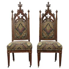 Victorian Gothic Pair of Antique 1850's Rosewood Chairs, New Upholstery #28661
