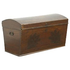 Pine Antique 1840 Dome Top Immigrant Trunk Blanket Chest #28665