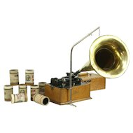 Edison Oak Antique Cylinder Record Player Phonograph, Brass Horn #28669