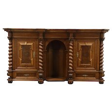 Renaissance Carved Oak Antique Back Bar, Sideboard, Hall Cabinet #28674