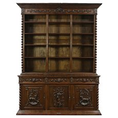 Oak  Antique Library Bookcase, Carved Dogs & Lion Heads, Black Forest #28676