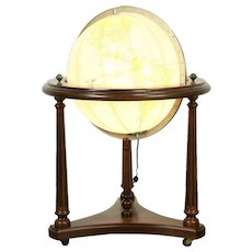 "Lighted Vintage 16"" Replogle Globe of the World, Cherry Stand #28681"