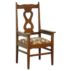 Oak Antique 1900 Craftsman Library or Office Chair, New Upholstery #28682