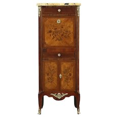 Marble Top Antique Marquetry Secretary Desk & Jewelry Chest, France #28701