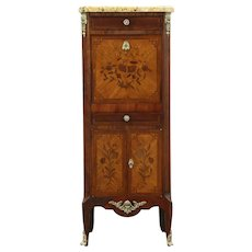Marble Top Antique Marquetry Jewelry Chest & Secretary Desk, France  #28702
