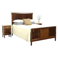 Art Deco 1925 Queen Size Oak & Rosewood Bed, France #28711