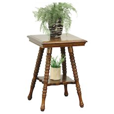 Oak Antique 1900 Chair Side Table or Plant Stand with Shelf  #28712