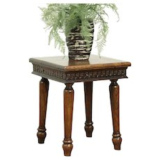 Oak 1890 Antique Chairside Table or Plant Stand, Signed  #28713