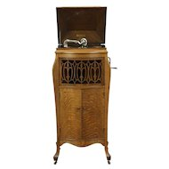 Sonora Antique Oak Phonograph, Wind Up Player plus Records #28714