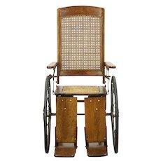 Oak Antique 1920 Wheelchair, Wire Wheels, Adjustable Feet & Back #28716