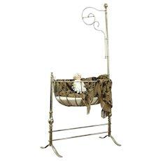 Victorian Antique 1890 Brass & Nickel Baby Bassinet or Cradle, France #28724