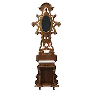 Victorian Antique 1870's Walnut Hall Stand, Mirror & Marble Shelf #28730