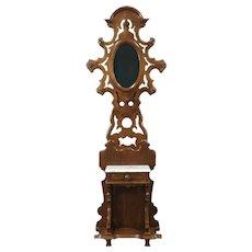 Victorian Antique 1870's Walnut Hall Stand, Mirror & Marble Shelf #28730